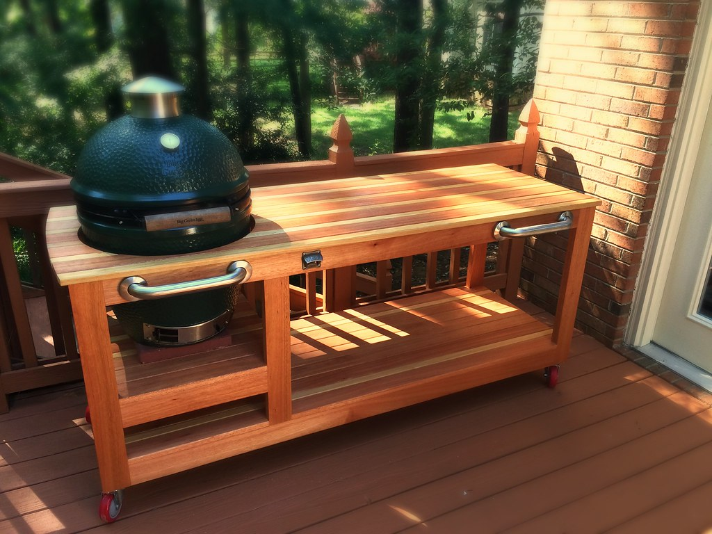 Grill Beistelltisch Selber Bauen Big Green Egg Table | Made Of Red Grandis And Cypress