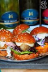 Review of Chur Burger and Mudhouse Wines: Crispy Pork Belly Burger, with cherry gastrique, baby gem and fennel mayo
