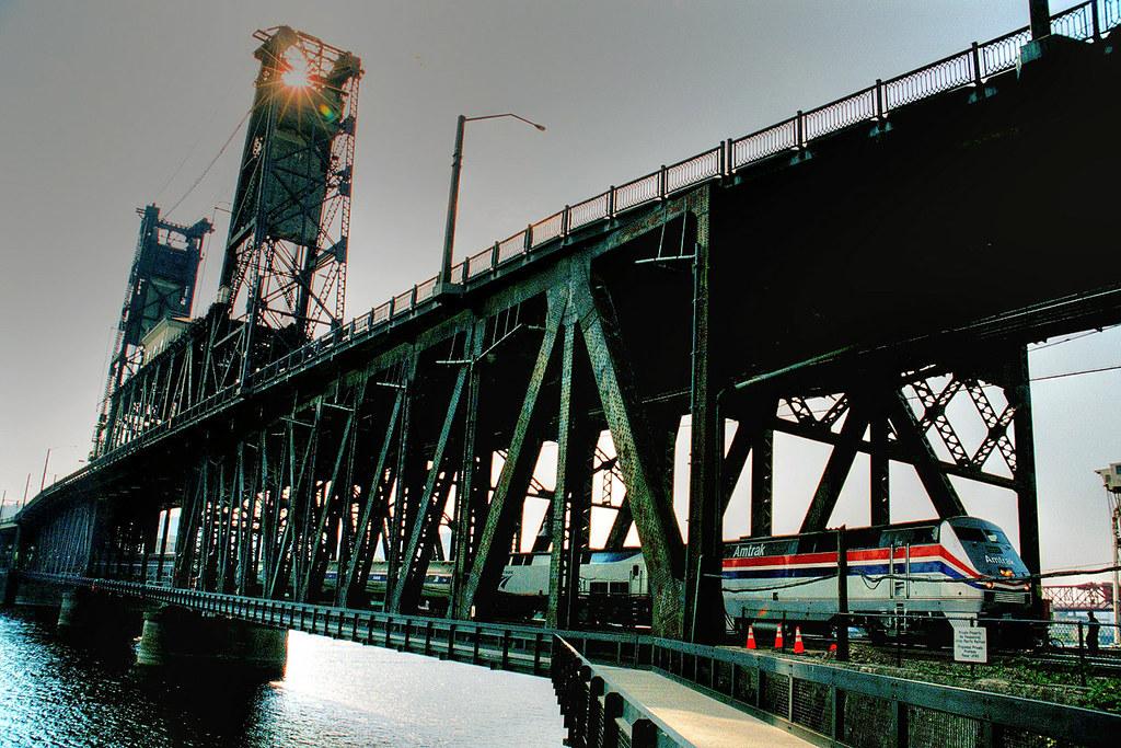 Amtrak on Steel Bridge, Portland, Oregon Bridgepixing and \u2026 Flickr