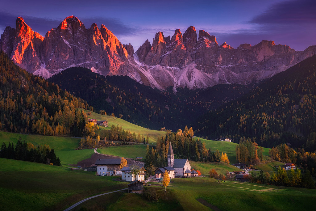 4k Fall Wallpaper Dolomiti Painting Beautiful Alpenglow On The Mountain