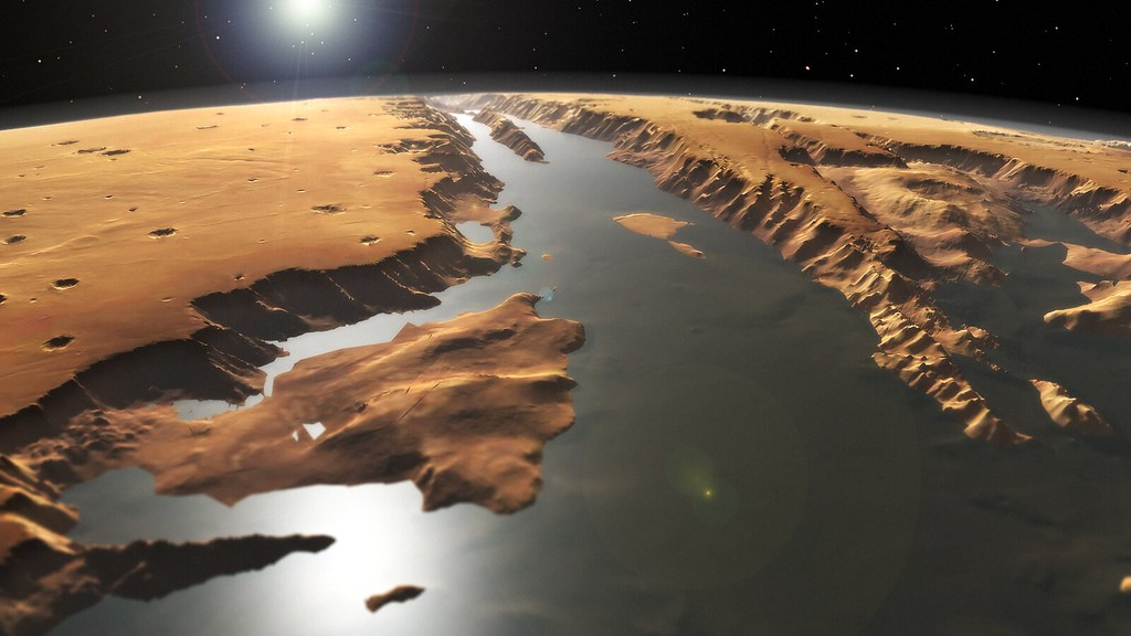 World Map 3d Wallpaper Mars Valles Marineris A Flooded View Of Valles