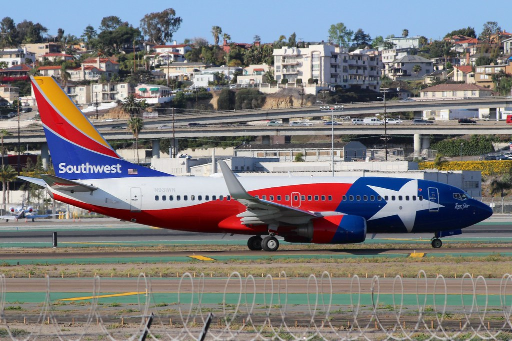 Lone Star One Southwest Boeing 737 taking off from San Die\u2026 So