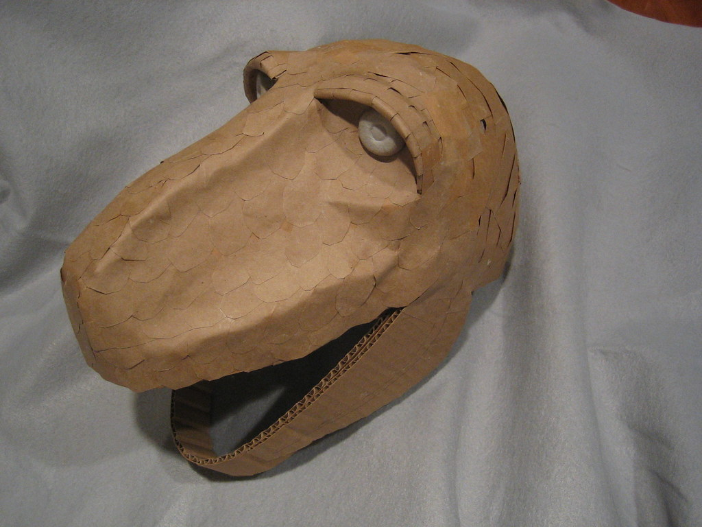 T Rex Costume Head After The Base Skin Layer Was Done