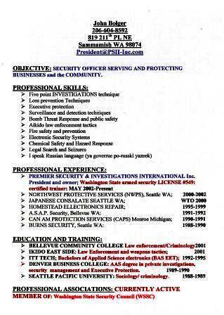 Security Resumejpg John Bolger Flickr - Executive Protection Resume