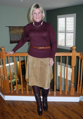 Tan And Burgundy Chadwicks Tan Suede Skirt Ann Taylor