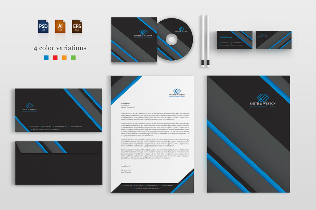 Corporate Stationery Pack A modern and creative dark-theme\u2026 Flickr