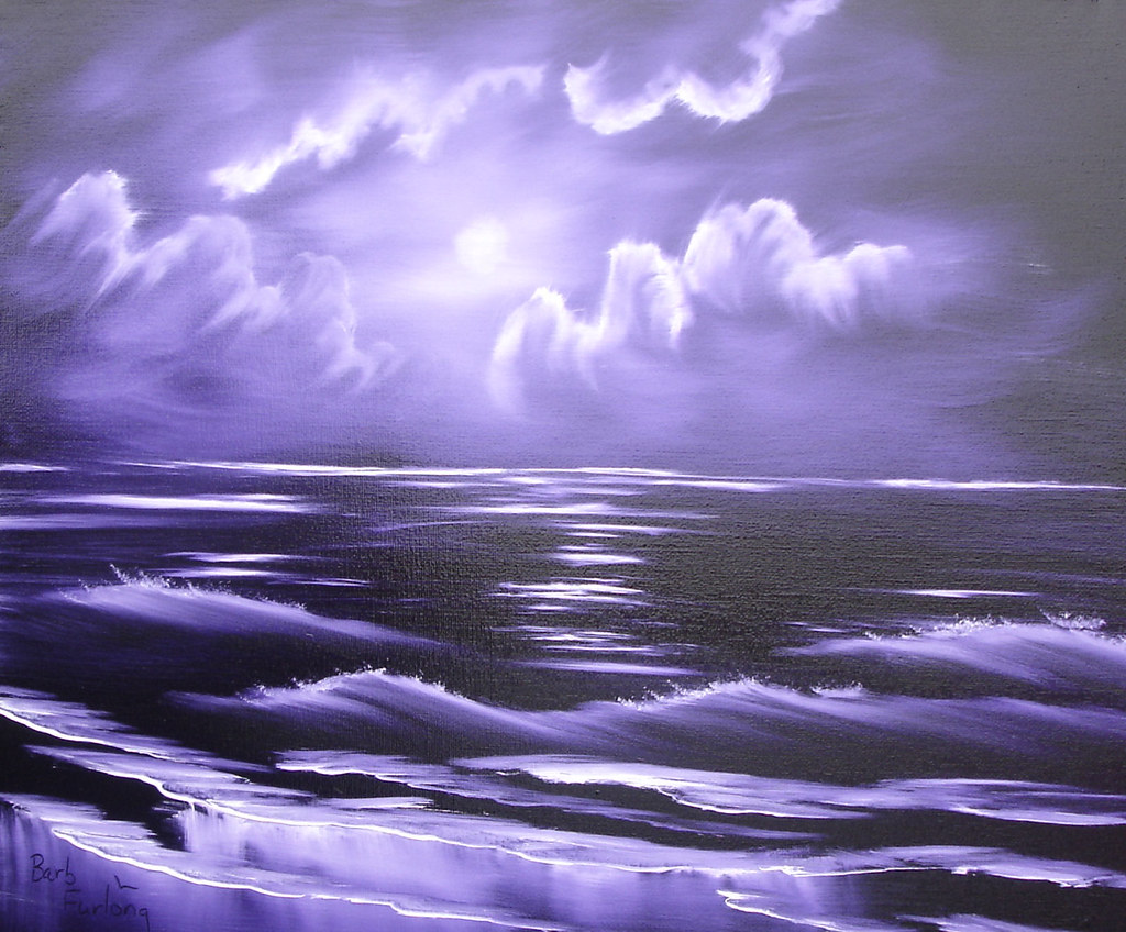 Mobile Flowers 3d Wallpapers Simple Waves Purple Seascape Oil Painting 513 20w X 16h