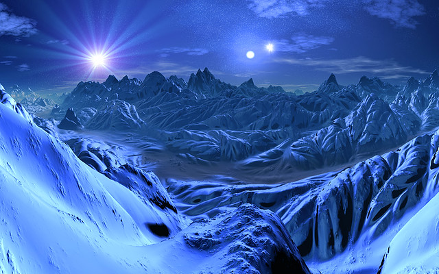 Monster 3d Wallpaper Three Suns Ice World Imagine A Distant Cold Planet With