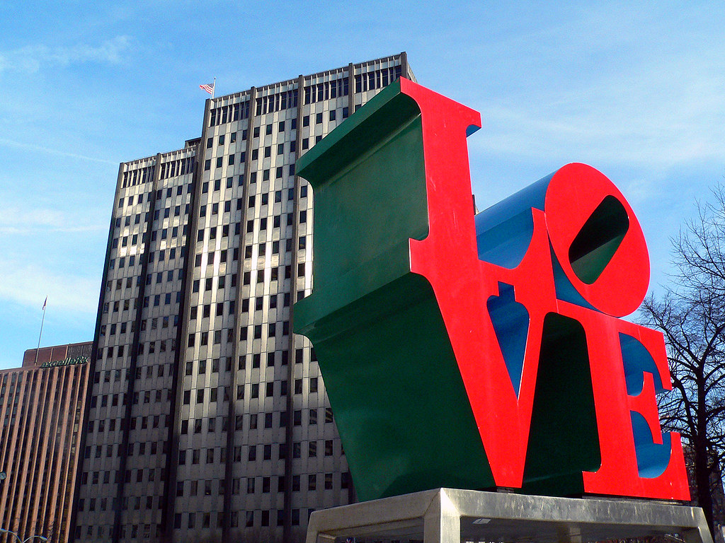 3d Wallpaper Of New York City Love Park Another View Of The Love Statue Against One