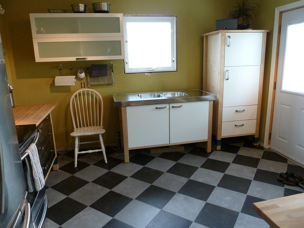 Varde Kitchen Sink Cabinet Varde Sink And Tall Cabinet Checkerboard Tile Floor