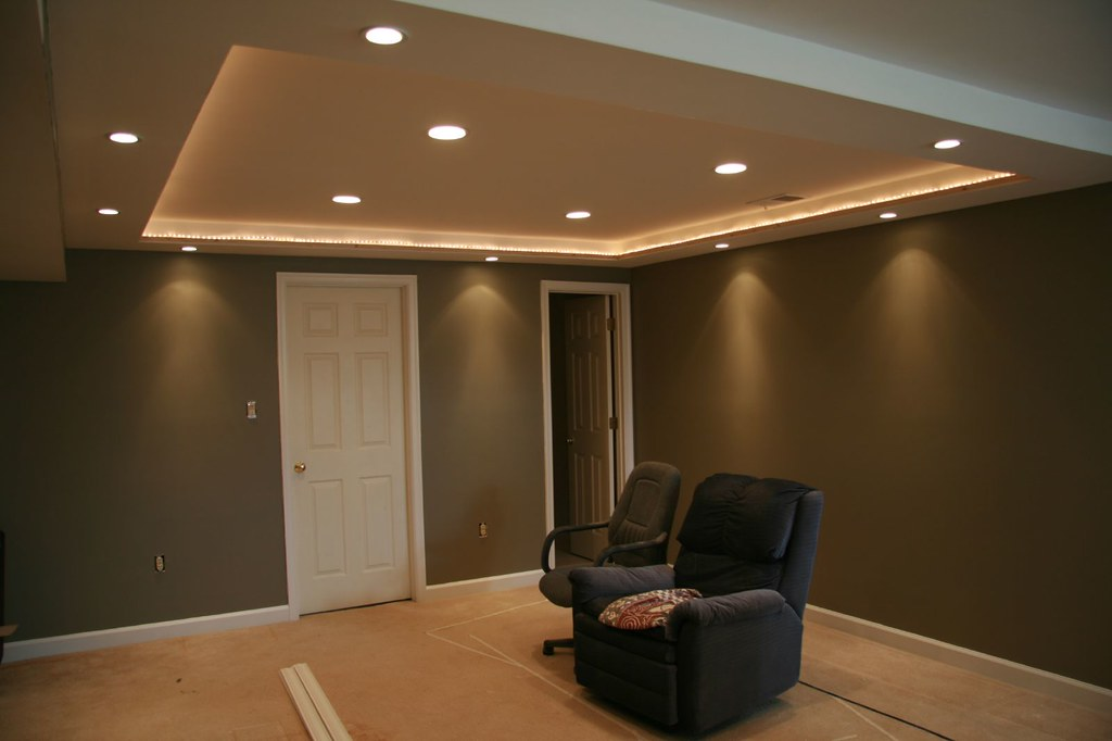 Rope Lighting With Crown Molding Home Theater - Walls Have Been Painted! | Perimeter Lights