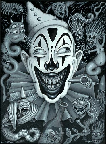 Girl Gangster Wallpaper Black Clown Acrylic On Board 2001 Size 9 X 12 Quot One Of