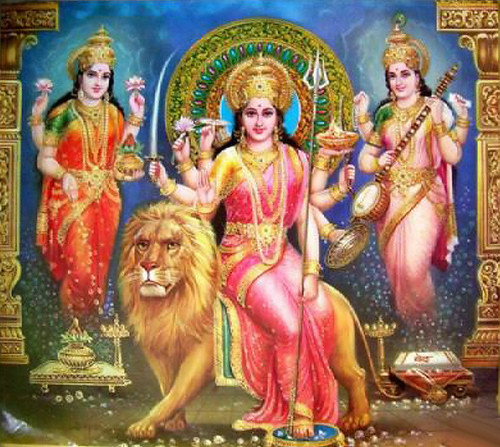 Amman Wallpaper 3d Hd Durga With Laxmi And Saraswati Durga With Laxmi And