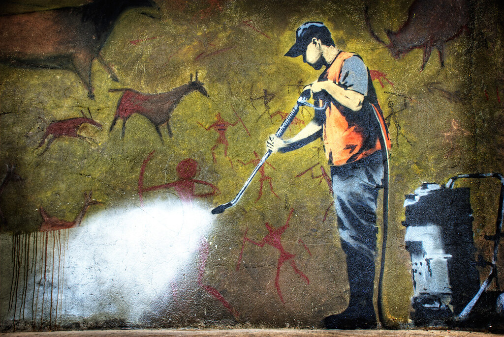 3d Street Art Graffiti Wallpaper Cave Painting By Banksy Taken At The Cans Festival On