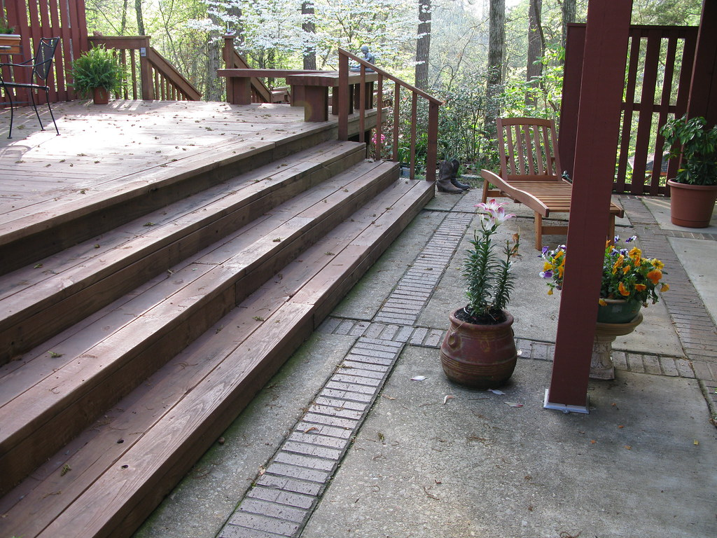 Steps To The Main Deck From Lower Patio At The Back Corner