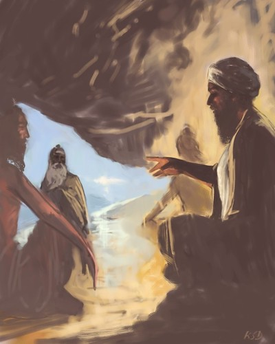 Guru Nanak Hd Wallpaper Guru Nanak Dev Ji And The Sidhs At Mt Sumayr Sketch