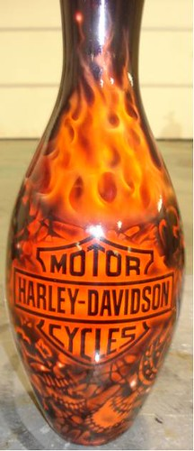 Custom Painted Harley Davidson Bowling Pins | middlefingermohawks | Flickr