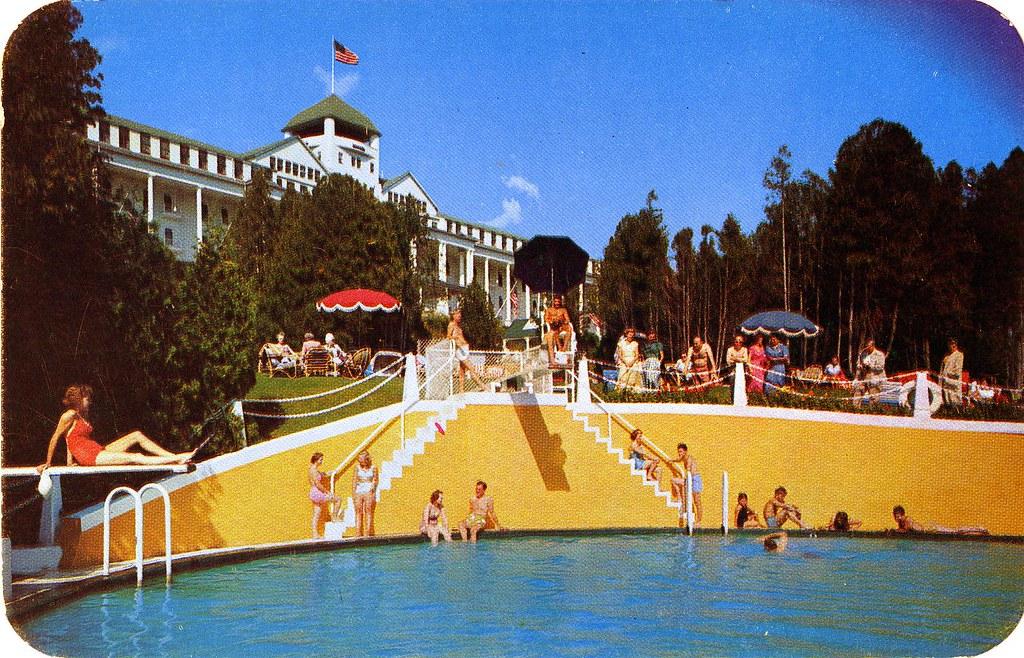 3d Crazy Wallpaper Pool And Grand Hotel Mackinac Island Mi William Bird