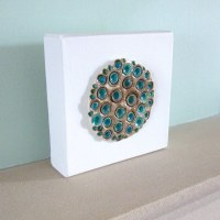 Teal fungus craters wall art | 6x6x1.5inch canvas panel ...