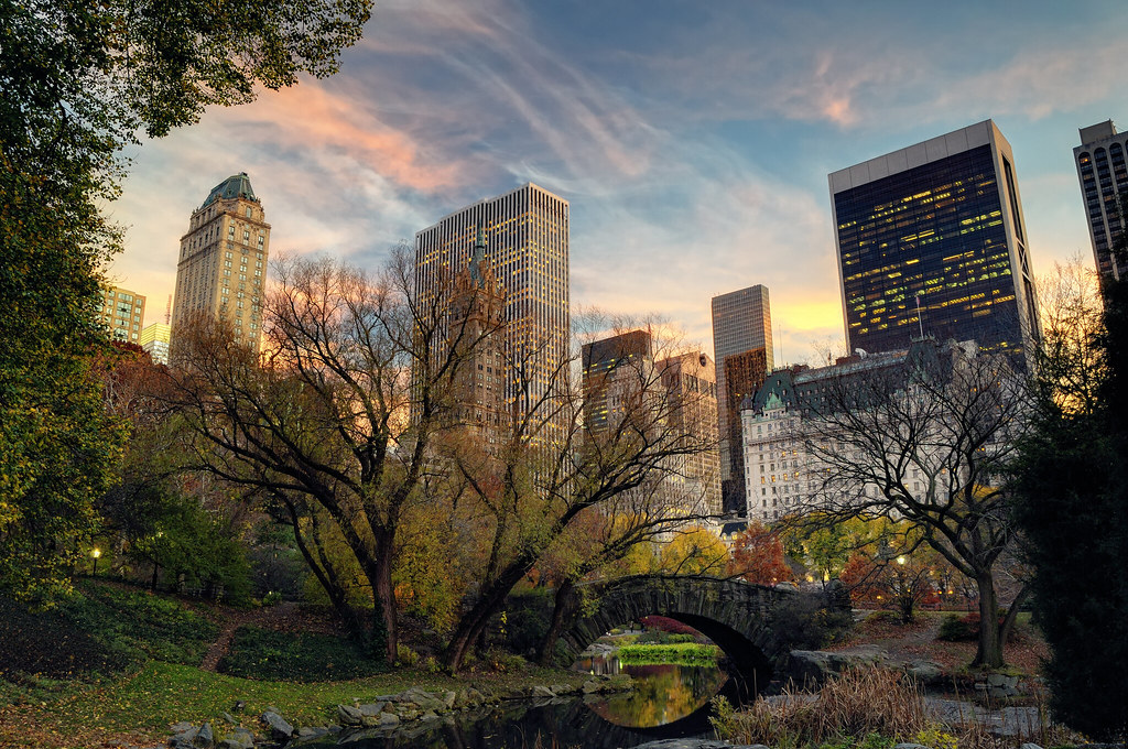 World Map Wallpaper Black And White Sunset Over Gapstow Bridge Central Park Nyc Looking Sou