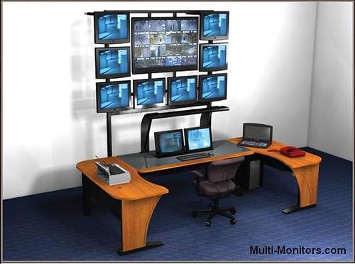 Multiple-Screen-Computer-Workstation-Desktop-Desk-and-Mult\u2026 Flickr - multi screen display