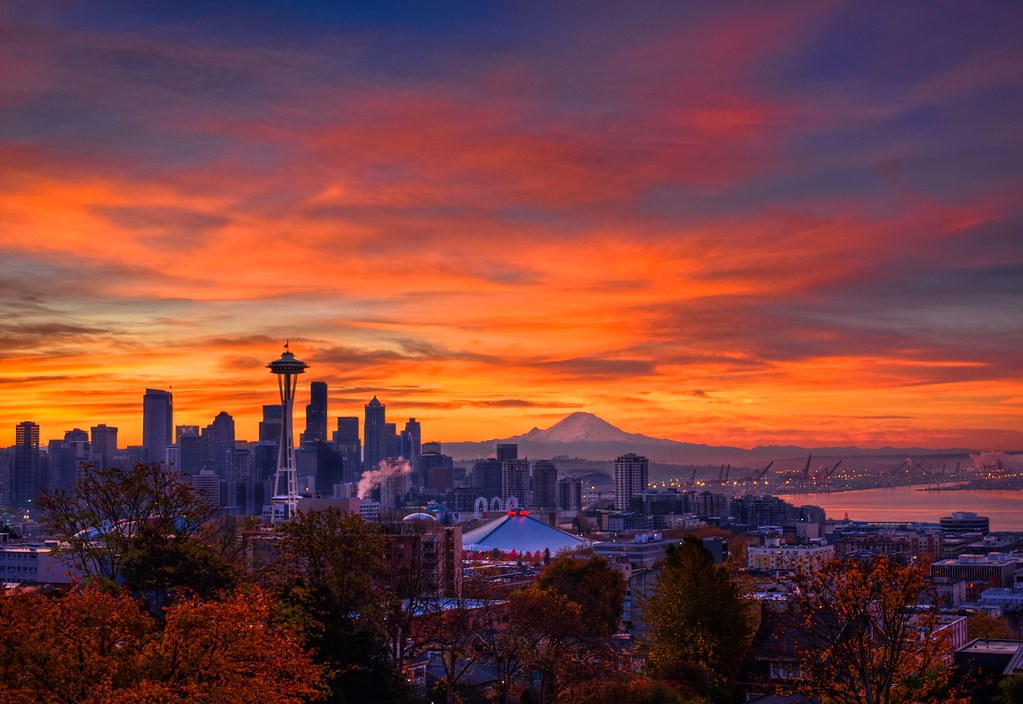 Morning 3d Wallpaper Seattle Autumnal Sunrise Hdr Click On All Sizes And View