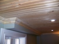 Basement Pine Ceiling | Pine ceiling with crown molding ...
