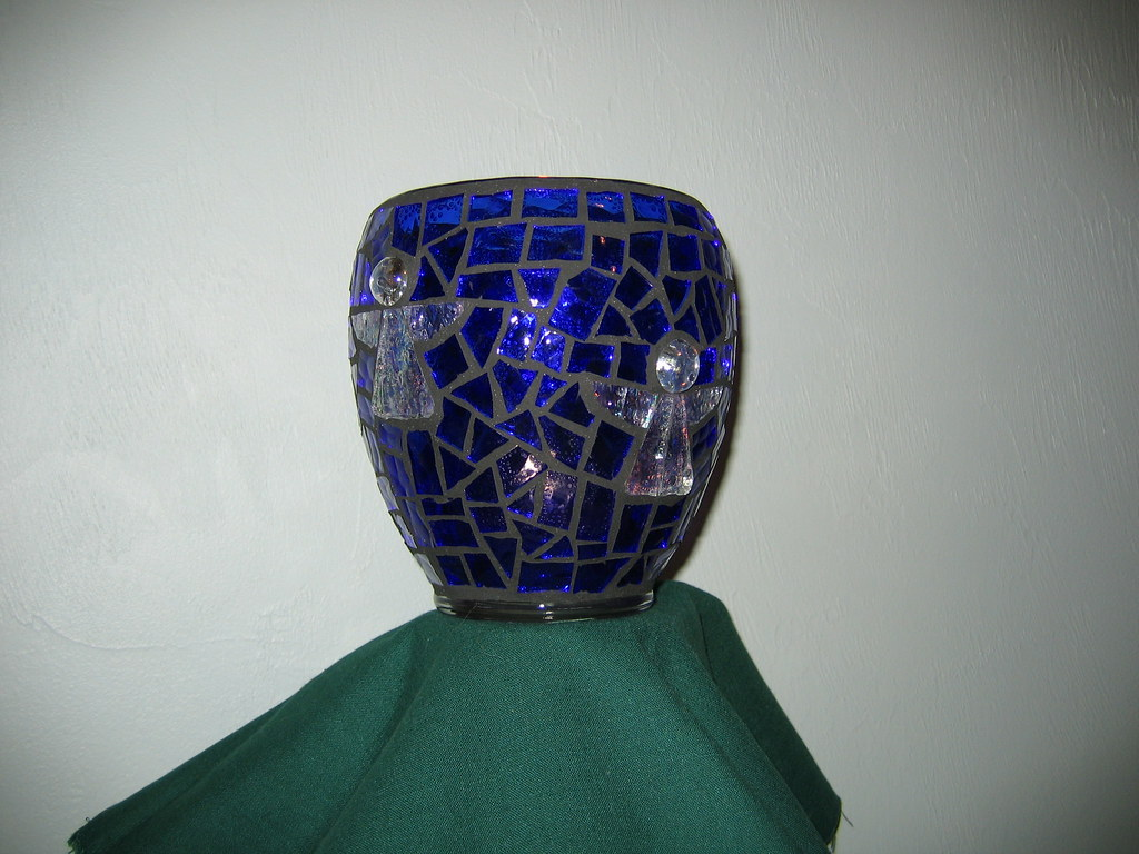 Blue Angel Candle Holder Blue Stained Glass With Clear