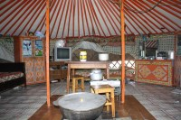 Inside of a Mongolian ger tent