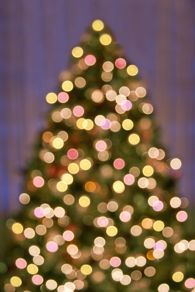 Square 3d Wallpaper Bokeh Christmas Tree Lights Background Pattern An Out