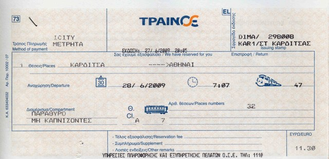 Greece Ose Train Ticket Valid From Karditsa To Athens