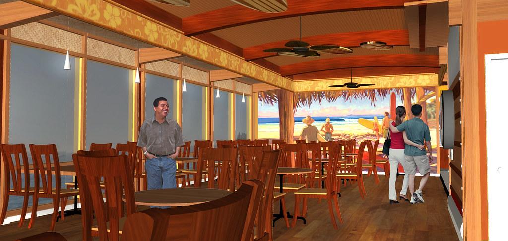 3d Beach Wallpaper For Walls Interior Cafe Rendering Restaurant 3d Design Conceptua