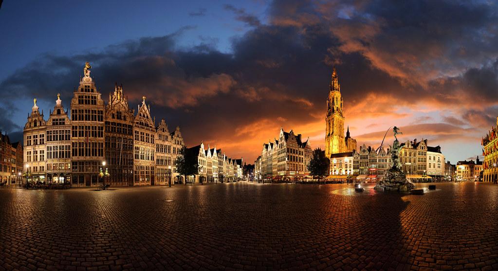 Om 3d Wallpaper Hd Quot Grote Markt Quot Antwerpen Belgium Stitched Panorama
