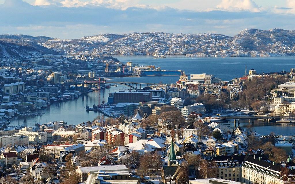 3d Wallpaper For Desktops Skyline Bergen Norway The City Centre Of Bergen