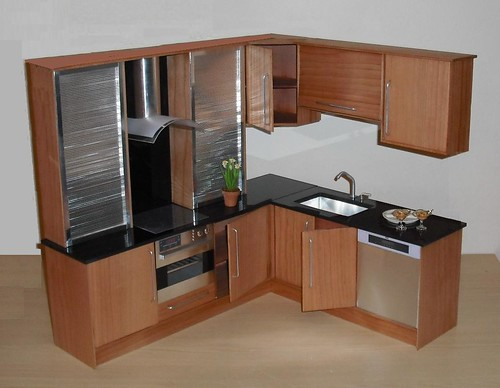 Playscale Kitchen In Cherry And Steel With Doors And