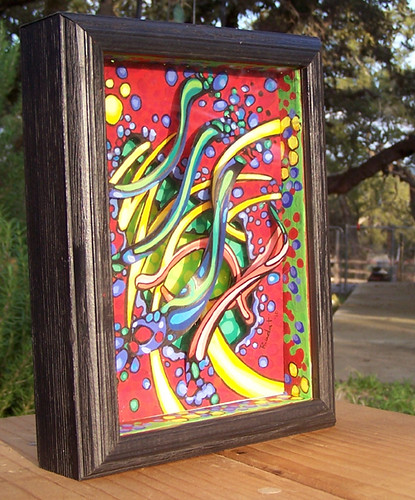 3d Shadowbox Art Layered Paper Painted With Gouache 5 X