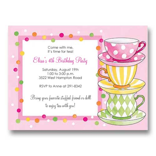 Pink Polka Dots Tea Party Birthday Invitations wwwbabycac\u2026 Flickr