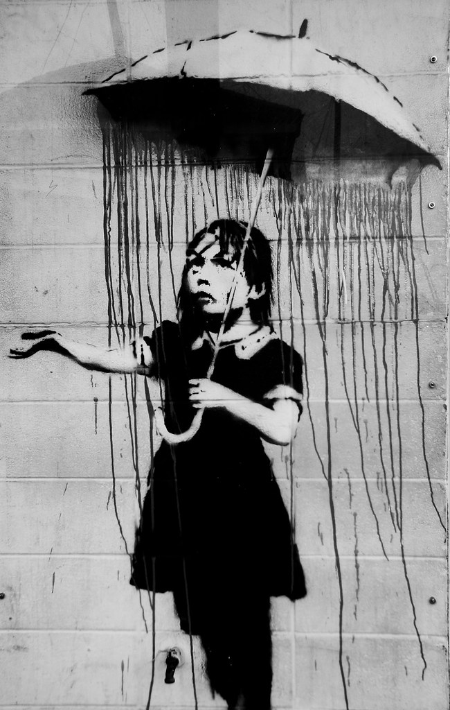 3 Girls Wallpaper Banksy Umbrella Girl This Piece Is Behind Plexiglass