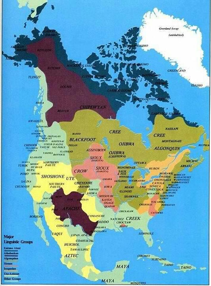native american tribe map language map Origin unknown Kaptain - amerika haritasi