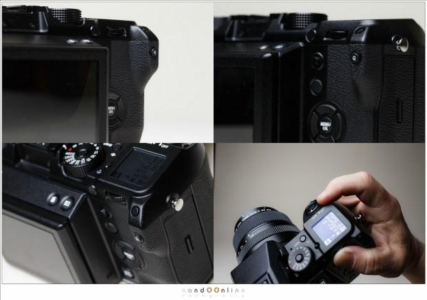 De Fujifilm GFX-50S van dichtbij. Het ontwerp is niet om over naar huis te schrijven waardoor het gebruik voor mij soms erg frustrerend was.