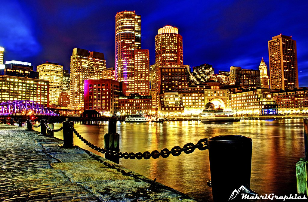 3d Wallpaper Night Sky Boston Skyline From Seaport Hdr Image Of Boston From