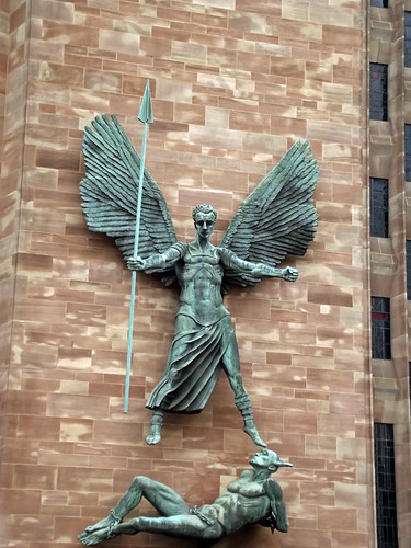 Lit Vertical Coventry Cathedral - Epstein's Sculpture Of St.michael And