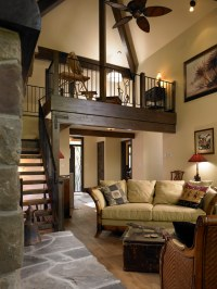 Living room with loft above | View the article about this ...