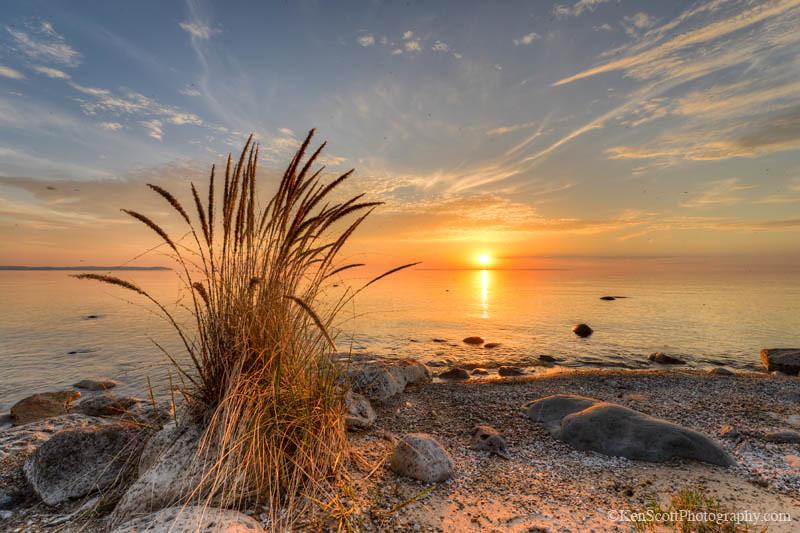 Beautiful Fall Wallpaper Desktop Lake Michigan Beach Grass Sunset Iii With Pyramid