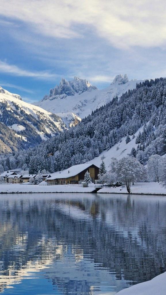 Winter Wallpaper 3d Engelberg Switzerland Mountains Winter Lake Landscape 7613