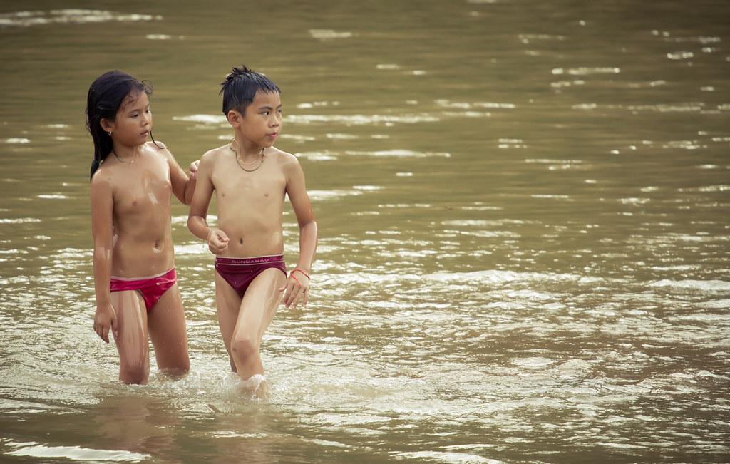 young girls bathing