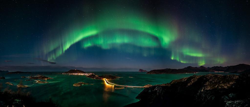 Green 3d Wallpaper Hd Northern Lights Panorama Panorama Av Nordlys Over
