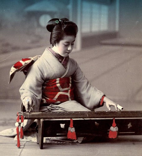 New Girl Wallpaper Geisha Playing A Yakumogoto A Two Stringed Zither Of Th