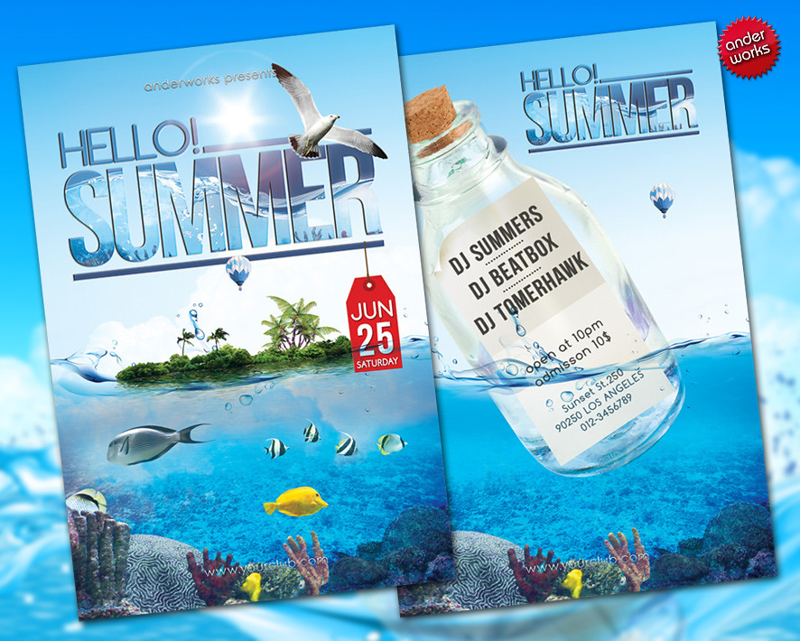 Hello! Summer - Flyer template Time for a refreshment, the\u2026 Flickr - summer flyer template