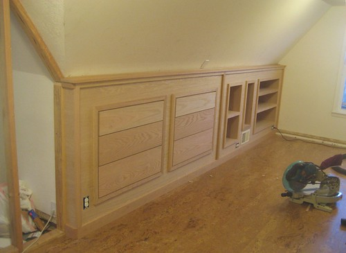 Finished Built In Knee Wall Cabinetry Except For
